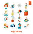 happy birthday icons set vector image vector image
