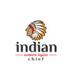 head of indian chief vintage logo design vector image