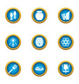 honeycomb icons set flat style vector image vector image
