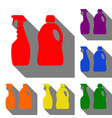 household chemical bottles sign set of red vector image vector image
