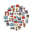 icons set movies and cinema vector image vector image