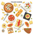 italian cuisine collection traditional dishes vector image vector image