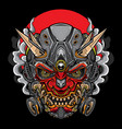 japanese hannya oni mask vector image