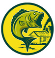 largemouth bass jumping retro style vector image vector image