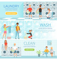 laundry service banners design with washing vector image vector image