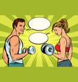 man and woman in the gym with dumbbells vector image vector image