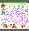 maze game with boy and food objects vector image