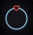 neon wedding ring with heart glowing brilliant vector image