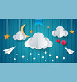 paper airplane cloud moon star vector image vector image