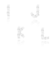 paper alphabet letters font I J K L vector image vector image