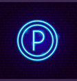 parking neon sign vector image