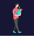 people character father and him child vector image