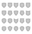 protection outline icons shield collection lineart vector image vector image