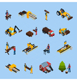 Sawmill Isometric Icons Set vector image vector image