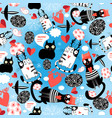 seamless bright pattern loving cats with hearts vector image vector image