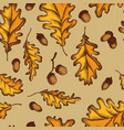 seamless pattern of oak leaves and acorns vector image vector image