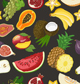 Seamless pattern with healthy fruits on dark vector image