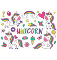 set isolated cute unicorn and elements part 1 vector image
