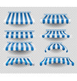 set of blue awnings vector image vector image