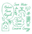 set of hand drawn ecology symbols and lettering vector image vector image