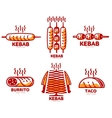 Set of stylized kebab burrito taco logo vector image