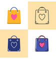 shopping bag icon set in flat and line styles vector image vector image