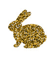 silhouette of a golden rabbit vector image