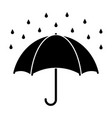 silhouette of umbrella with raindrops isolated on vector image