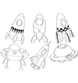 silhouettes different spaceships vector image