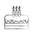 sketch draw birthday cake cartoon vector image vector image