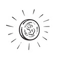 sketch shining coin with dollar sign encircled vector image vector image