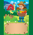 small parchment and woman farmer vector image vector image