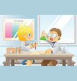 students in science project vector image vector image