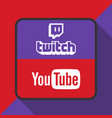 twitch and youtube logo with background ima vector image