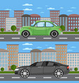 vintage car and comfortable sedan in cityscape vector image vector image