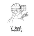 vr poster man in virtual reality headset linear vector image vector image