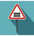 Warning road sign icon flat style vector image vector image