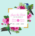 wedding invitation with blooming tropical flowers vector image vector image