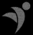 white halftone winged man icon vector image
