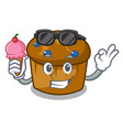 with ice cream mufin blueberry character cartoon vector image
