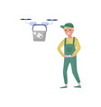 young man flying drone with remote control fast vector image