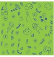 Kids playing in garden doodle art vector image