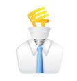 idea man with energy saving lightbulb vector image