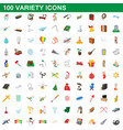 100 variety icons set cartoon style vector image vector image