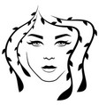 abstract lady with stylized floral hair vector image vector image