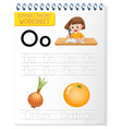 alphabet tracing worksheet with letter o and o vector image