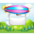 An empty banner carried by the stripe airship vector image vector image