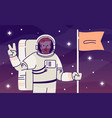 astronaut flat spaceman with flag and victory vector image