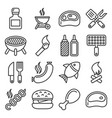 bbq and grilling icons set line style vector image vector image