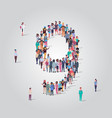 big people crowd forming number nine 9 shape vector image vector image
